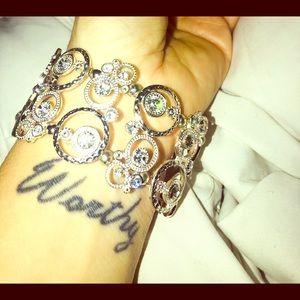 Silver toned double row stretch bracelet !!